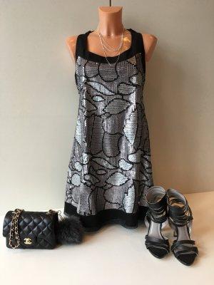 Jessica Simpson Pailletten Abendkleid Cocktailkleid Gr. 42 schwarz/ silbergrau