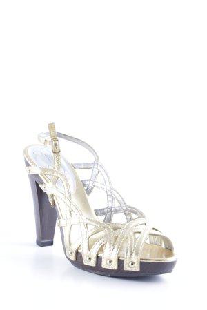 Jessica Simpson Riemchenpumps goldfarben-dunkelbraun Elegant
