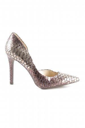 Jessica Simpson Spitz-Pumps bronzefarben-anthrazit Animalmuster Reptil-Optik