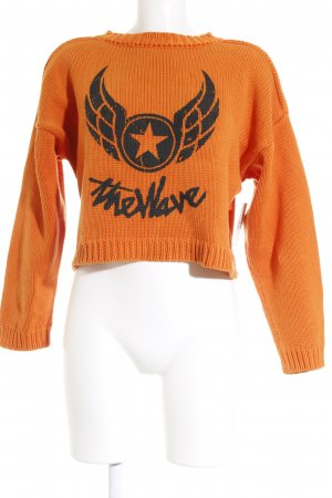 Jet Set Strickpullover schwarz-orange Street-Fashion-Look