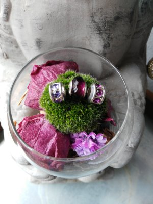 Jette Breloque rose-violet argent
