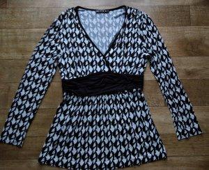Jette Babydoll Long Tunika Minikleid schwarz weiß.