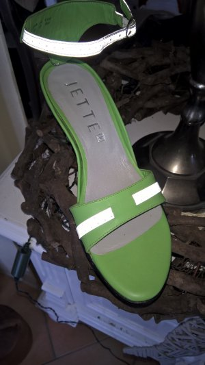 Jette Strapped High-Heeled Sandals lime-green-white leather