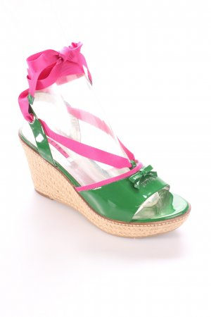 Jette Espadrilles-Sandalen grün-pink Lack-Optik