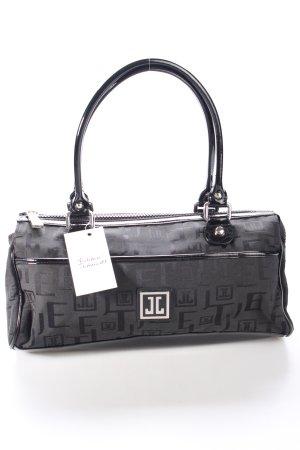 Jette Handtasche schwarz-dunkelgrau Monogram-Muster Materialmix-Look