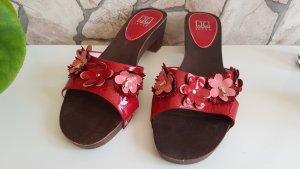 JETTE JOOP Damen Holz Lackleder Sandalen Clogs Pantoletten Rot Gr. 39