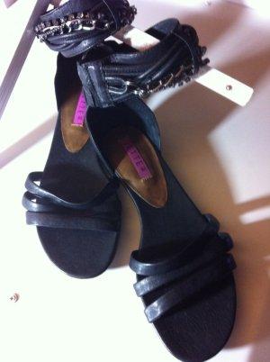Jette Joop - Echt-Leder-Sandalen - Größe 40 (6 1/2) - schwarz - silberfarbene Ketten