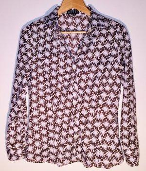 Jette Joop Hemd-Bluse abstraktes Muster (weiß, braun, hellblau), 70ies Stil