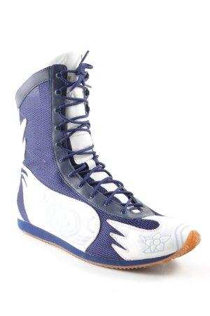 Jette Joop High Top Sneaker weiß-himmelblau florales Muster Materialmix-Look