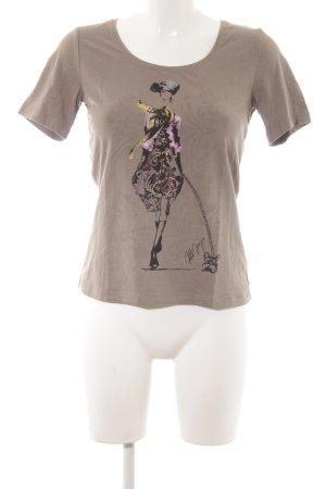 Jette Joop T-Shirt graubraun-lila Motivdruck Casual-Look