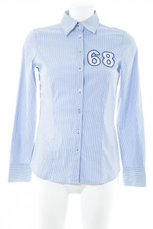 Jette Langarm-Bluse weiß-kornblumenblau Schriftzug gestickt Business-Look