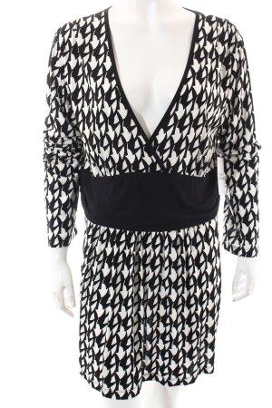 Jette Langarm-Bluse weiß-schwarz abstraktes Muster Elegant