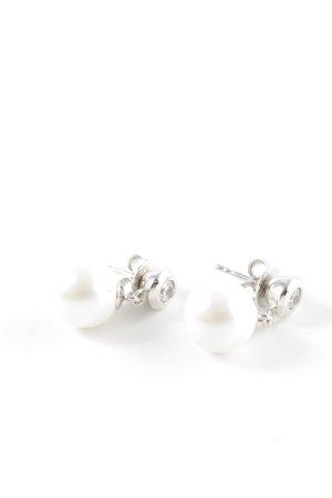 Jette Perlenohrring weiß-silberfarben Elegant
