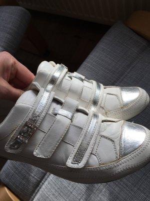 Jette Basket velcro blanc-argenté cuir