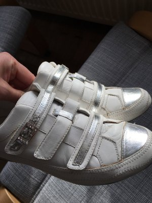 Jette Zapatillas con velcro blanco-color plata