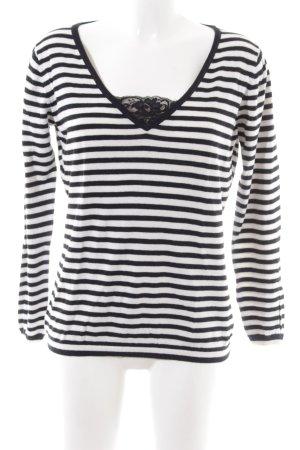 Jette Maglione lavorato a maglia nero-bianco motivo a righe stile semplice