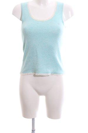 Jette Haut tricotés turquoise-blanc style décontracté