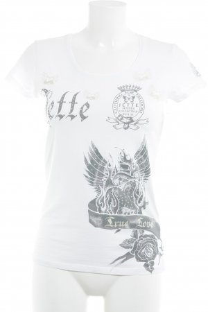 Jette T-Shirt platzierter Druck Glitzer-Optik