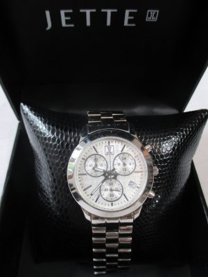 JETTE Time PYRAMID Damenchronograph Uhr/Edelstahl/Silber/im Geschäft AUSVERKAUFT!