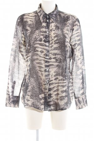 Jette Transparenz-Bluse schwarz-creme Animalmuster Business-Look