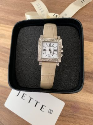 Jette Watch With Leather Strap silver-colored-cream