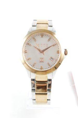 Jette Montre avec bracelet métallique argenté-doré style d'affaires