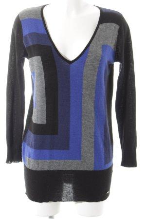Jette V-Ausschnitt-Pullover grafisches Muster Casual-Look