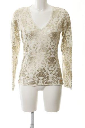 Jette V-Ausschnitt-Pullover hellbeige-goldfarben florales Muster Casual-Look