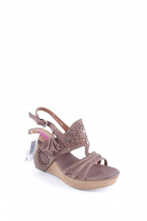 Jette Wedge Sandals light brown loosely knitted pattern bobble element