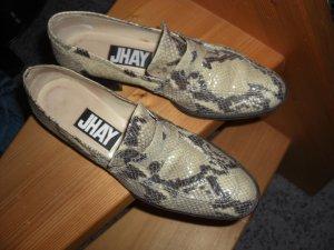Slip-on beige clair-gris anthracite cuir