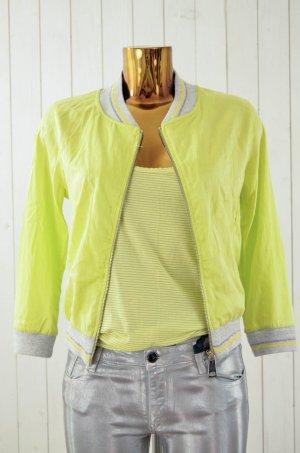 Blusón amarillo neón-gris claro Seda