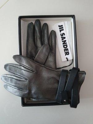 Jil Sander Leather Gloves black-silver-colored