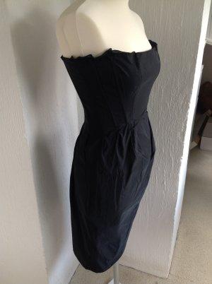 Jil Sander Kleid Gr 34 schwarz glänzend