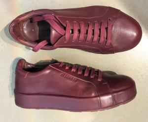 Jil Sander Sneakers met veters bordeaux-roodbruin Leer