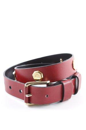 Jil Sander Cinturón de cuero rojo oscuro estilo extravagante