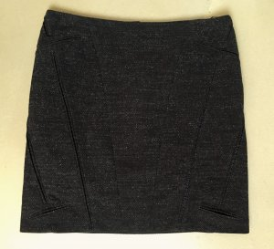 * JIL SANDER * MINI ROCK WOLLE TWEED anthrazit schwarz grau Abnäher Gr 38 M