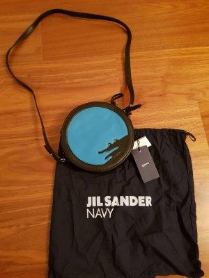Jil Sander Navy Tasche rund Leder Krokodilmotiv Neu