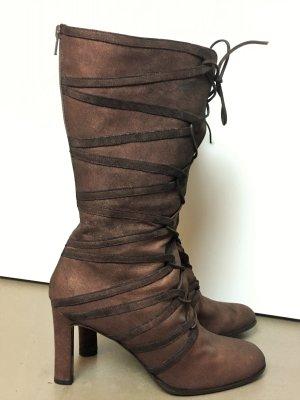 * JIL SANDER * NEU ! lange ABSATZ  STIEFEL RAU LEDER braun bronze Schnürung Reißverschluss