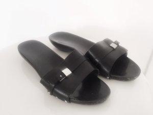 Jil Sander Heel Pantolettes black leather