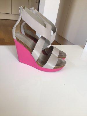 Jil Sander Sandales à plateforme gris clair-rose fluo cuir