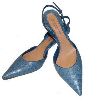 JIL SANDER Riemchen Pumps blau Kroko LEDER Gr. 40,5