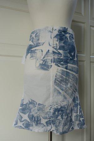 JIL SANDER Rock aus Baumwolle in weiß, mit 'Stars and Stripes'- Druck in hellblau, Gr. 40