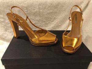 Jil Sander Sandalias de tacón alto naranja dorado-color bronce Cuero