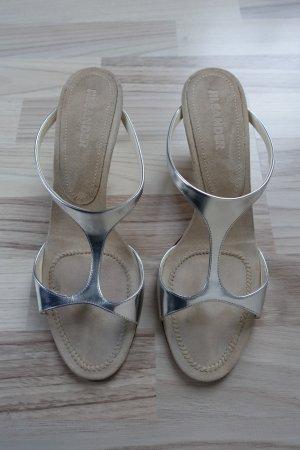 Jil Sander Heel Pantolettes beige-silver-colored leather