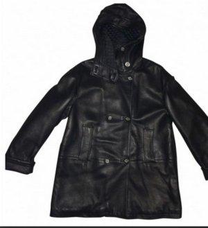 Jil Sander schwarze Lederjacke mit Kapuze