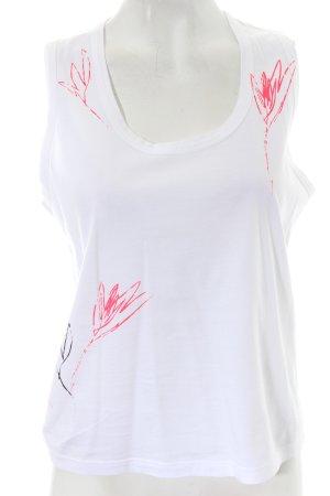 Jil Sander Top weiß-neonpink florales Muster Casual-Look