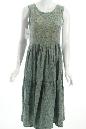 Jil Sander Trägerkleid waldgrün-hellgrün florales Muster Retro-Look