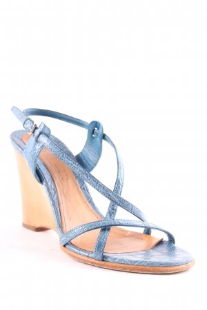 Jil Sander Wedge Sandals steel blue reptile print