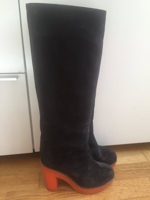 Jil Sander Platform Boots brown-orange suede