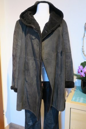 Jil Sander Leather Coat anthracite-taupe suede